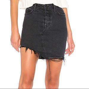GRLFRND Rhoda Asymmetrical Distressed Denim Skirt